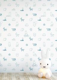 Nijntje behang animals blauw