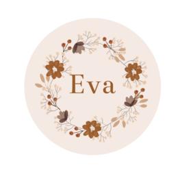 Behangcirkel met naam bloemenkrans