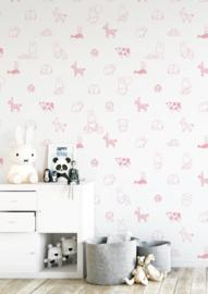 Nijntje behang animals roze