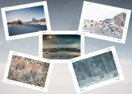 winterkaarten- set van 5