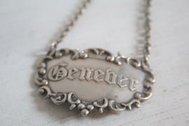 """Decanteerlabel """"Genever"""", zilver"""