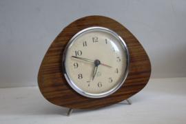 Equity - Vintage hout look metalen klokje met wekker functie