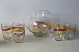 Vintage limonade kan met 6 glazen, jaren '70