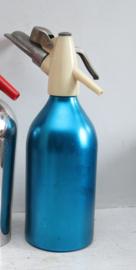 Vintage blauw glazen Soda spuitfles