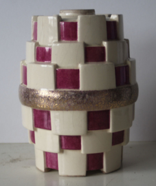 C.H. France gemerkt - Art Deco kubistisch aardewerken vaas - ca 1920/30
