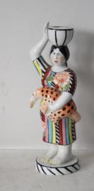 Villeroy & Boch - porseleinen kandelaar - kleurrijke dame