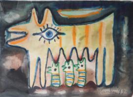 Jacob Kanbier - schilderij aquarel, Handgesigneerd - 1999