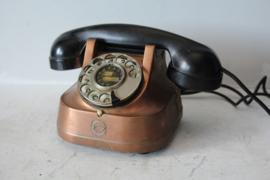 FTTR - Vintage roodkoperen telefoon met bakelieten hoorn