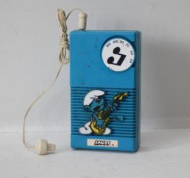 Smurfen transistor radio, gitaar spelende smurf - ca 1980