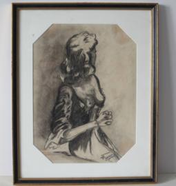 Fouery - Dame met ontbloot bovenlichaam