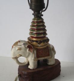 Satsuma Japan - Olifant lamp op houten voet - ca 1920