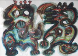 Jacob Kanbier - schilderij aquarel, Handgesigneerd - 1998
