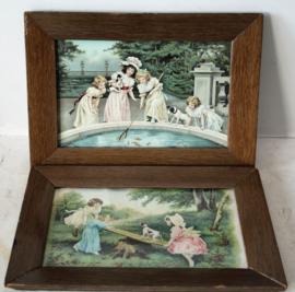 2 vintage Franse steendrukken van spelende kinderen