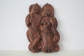 Houten afbeelding van Krishna en Radha - India - begin 20ste eeuw