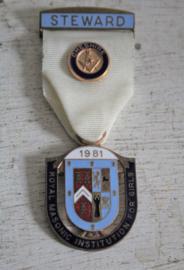Medaille Vrijmetselaars - Steward R M I G 1981 Cheshire Lodge
