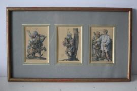 Lithografie, gesigneerd AD - drieluik met vrolijke taferelen - 19e eeuw