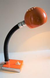 Vintage oranje bureaulamp / bollamp
