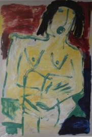 Lithografie Jacob Kanbier - Naakte vrouw, handgesigneerd '93