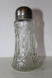 Prachtige art deco glazen suikerstrooier met verzilverde dop