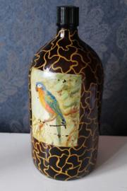 Grote antieke inktfles - hand beschilderd met een papegaai