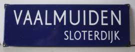 Emaille straatnaam bord - Vaalmuiden, Sloterdijk, Nederland - ca 1960