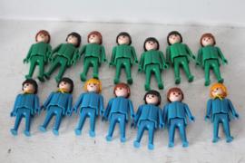 Vintage Playmobil 14 poppen - Groen en Blauw