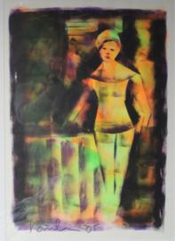 Jacob Kanbier - schilderij aquarel, Handgesigneerd - 2005