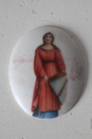 Miniatuur schilderij op porselein de heilige Cecilia- 1880