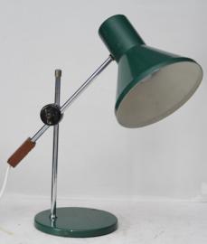 Vintage industriële bureaulamp in groen metaal
