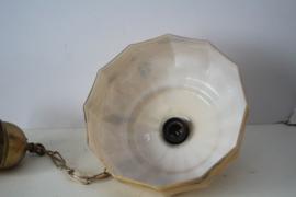 Art deco  gemarmerde opaline glazen hanglamp