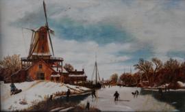G.J. Dalman - winterlandschap met molen en schaatsers