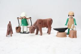 Vintage Playmobil - Boer en Boerin met Koeien