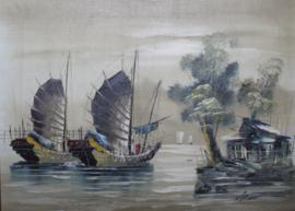 Prachtig schilderij van 2 Chinese Jonken / Boten