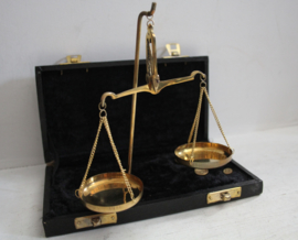 Goud balans / weegschaal in origineel foudraal - Messing