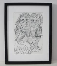 Jan Sierhuis - man vrouw, Origineel potlood/krijt tekening - 1966