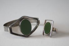 Vintage verzilverde armband en ring met Jade steen