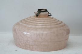 Art deco glazen kap van hanglamp in roze
