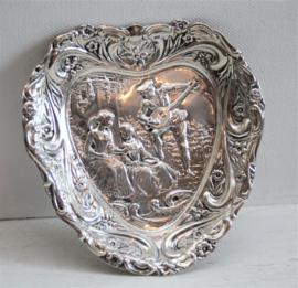 """Zilveren """"pin dish""""hart vormig, Birmingham 1904, Henry Matthews"""