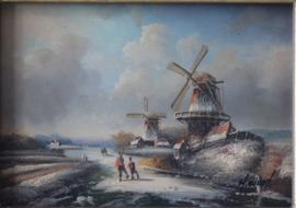 H. Wood  - Nederlands winterlandschap met molens