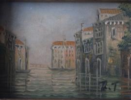 Rene Tempur - Miniatuur van huizen aan de gracht van Venetië
