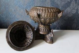 Bronzen wierookvat, zeer gedecoreerd - Thailand