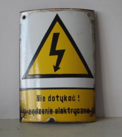 Emaille bord - Niet aanraken, Electrish apparaat! - Poolse tekst