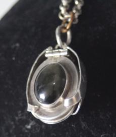 Zilveren foto locket met onyx - Mexicaans zilver