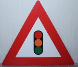 Kunststof verkeersbord met stoplicht
