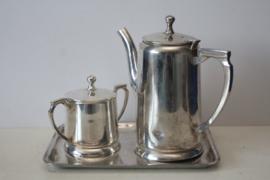 Art Deco stijl Becara verzilverd thee servies, ca 1965, Spanje