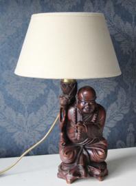 Houten Boeddha lamp