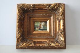 Miniatuur maritiem schilderij gelijst in barokke lijst