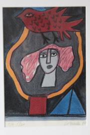 Corneille, Zeefdruk Femme Oiseau. Ingekaderd, handgesigneerd 1996, EA 5/20