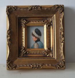 Prachtig miniatuur portret van een meisje/jonge dame ca 1920  Gesigneerd J.W.