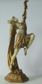 Prachtig Frans beeld in Art Deco stijl van een sierlijke danseres